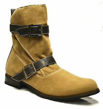 Mens Casual Desert Riding Western Cowboy Ankle Buckle Biker Boots Shoe Size 6-11