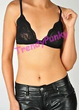 Floral Sheer Lace Triangle BRALETTE BRA CROP TOP BUSTIER UNPADDED MESH LINED