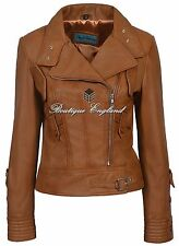 SUPERMODEL Ladies Tan Biker Style Designer Real Nappa Italian Leather Jacket
