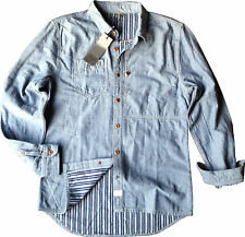 Mens Firetrap Long Sleeved 'Good Quality Denim' Shirt - Available In 5 Sizes
