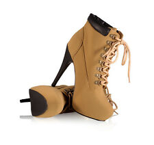 Womens Ankle Booties Stilettos Almond Toe Workman Combat Lace Up Ankle Boots Tan