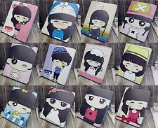 Cute Girl Cartoon Painting wallet Flip case cover stand for iPad Air / iPad 5