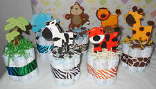 Mini Jungle Safari Themed Diaper Cakes Baby Shower Centerpiece Set Of 6 Or 7