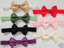 Double Face Satin Single Bow Headband Baby Girl Headbands Toddler Girls + Lot