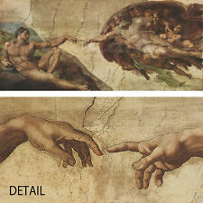 "60W"" x 27H"" CREATION OF ADAM by MICHELANGELO Repro CANVAS"