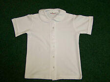 Girls School Uniform - White Knit Round Collar Blouse Short Sleeve Poly/Cotton