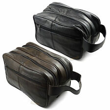 Large LEATHER WASH BAG zipped sections cowhide toiletries toiletry travel unisex