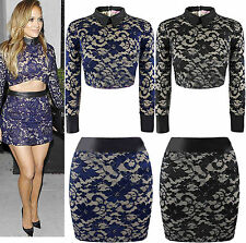 Womens Ladies Celeb J Lo Inspired Lace Floral Collared One Piece Top Skirts Suit