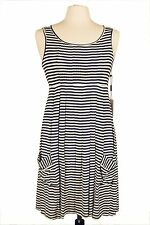 New With Tag Calvin Klein Summer Jersey Navy-White  Dress.(Retail $119.00)