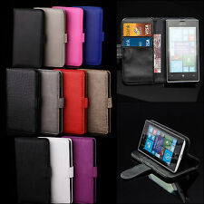 Flip Leather Wallet Case Cover Stand Pouch For All Nokia Lumia Phones
