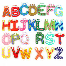 Colorful Numbers/Alphabets Wooden Fridge Magnets Kids Children Learning Teaching