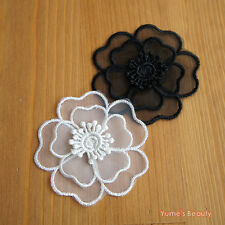 2pcs Organza Lace Applique 2-layer Flower Black & White
