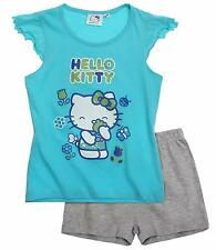 Hello Kitty Tank & Top Shorts Pyjama Set For Girls 3 to 10 Year | Blue  And Grey