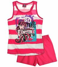 Monster High Pyjama Short Set For Girls 7 to 14 Years | White/Beetroot