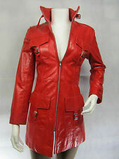 Ladies Woman Real Leather Jacket Vintage Red Coat New Biker Rock Long Fitted