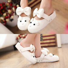 Womens Sweet Mouse Face Bowknot Decor Round Toe Medium Heel Platform Slippers