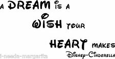 A Dream Is A Wish Your Heart Makes Disney Vinyl Wall Quote Decal 99060