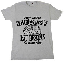 Men's Boy's Funny Joke T-Shirt  Zombies mostly Eat Brains Slogan Undead Zombie
