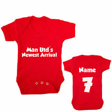 MAN UNITED PERSONALISED FOOTBALL BABYGROW CHOOSE YOUR NAME AND NUMBER
