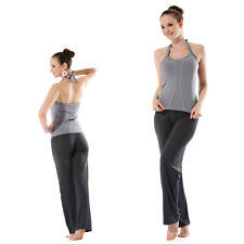 Petite Yoga Sports Built-in Shelf Bra Halter Neck Top Grey/Black Trousers 2802