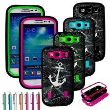 Hybrid Anchor Rubber Matte Case W/ Built in Screen for SAMSUNG GALAXY S3 i9300