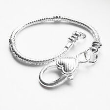 10pcs Silver Snake Chain Lobster Clasp Heart Charm Bracelets Fit European Beads