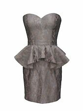 Silver Nude Celeb Style Peplum Evening Party Bodycon Dress Lace Vintage Tapestry