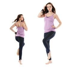 Purple Rouch Lace Yoga Built-in Bra Spaghetti Strap Camisole/Navy Blue Leggings