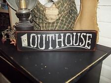 OUTHOUSE Wood Sign Rustic Country Bath Room Decor Sign Shelf Sitter Block Sign