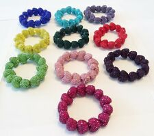 SHAMBALLA SPARKLY STRETCHY LARGE 23mm HEART BRACELET- CZECH CRYSTALS -16  COLOUR