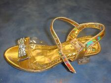 NEW Girl GOLD Dressy Sandals/Party/Wedding/Baptism/Size 5 Toddler- 7 Youth