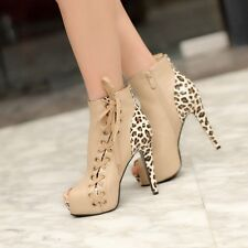 FATION  Womens Stilettos High Heels Leopard Lace Up Ankle Boots Peeptoe Shoes Si