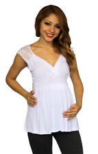 White Lace Maternity Sleeveless Top Casual Womens New Solid Formal S M L XL