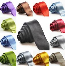 "MENS SKINNY THIN PLAIN NECKTIE NECK TIE 2"" 5cms WEDDING BUSINESS FORMAL PARTY"