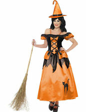 Ladies Orange Storybook Witch Halloween Party Outfit Fancy Dress Costume
