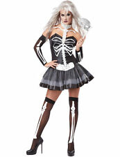 Ladies Skeleton Masquerade Masked Ball Halloween Fancy Dress Costume