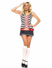 Ladies 2 Piece Striped Sailor Captain Uniform Fancy Dress Costume