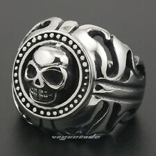 Huge & Heavy Solid 316L Stainless Steel Tribal Flame Skull Mens Biker Ring 4M040