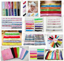 lot Newborn Toddler Baby Girls Elastic/Crochet/Lace/Glossy Headbands 15 Style