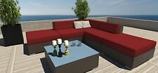 6 PC Rattan Wicker Modern Outdoor All Weather Patio Set Sectional Sofa Furniture