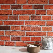 'Embossed' Realistic textured Brick Effect Wallpaper in Red Brick tones