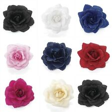 Glitter Edge Rose Flower Hair Elastic Bobble Band Beak Clip Corsage Fascinator