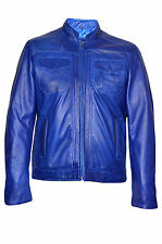 GUNNER Men's Blue Fashion Style Biker Motorcycle Real Italy Napa Leather Jacket