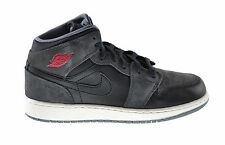 Air Jordan 1 Mid (BG) Big Kids Shoes Black/Gym Red-Cool Grey 554725-018
