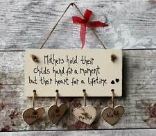 Personalised Family Plaque Wooden Hearts cream hanging Hearts Beautiful Gift