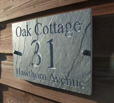 Deep Engraved Natural Riven Slate House Door Sign Name Number Plaque