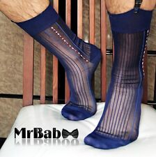 W006 2Pairs/Lot Men's Black Sheer Socks, Men At Play Sexy TNT Suit Nylon Socks