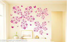 Flower Rain + Butterfly Removable Wall Sticker Baby Nursery Decor -- 12 Colours