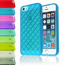 DIAMOND RHOMB TPU GEL TRANSPARENT CLEAR SOFT CASE BACK COVER FOR IPHONE 5 5S
