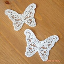 2pcs Cotton Lace Applique Butterfly Garden 02 Ivory & White